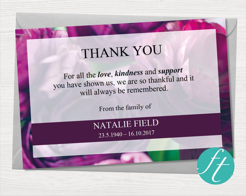 Funeral Thank You Card with purple peonies