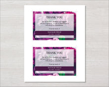 Memorial Thank You Card with purple peonies