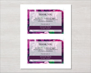 Purple Peonies Funeral Thank You Card