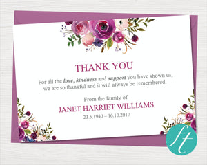 Funeral thank you card with purple roses