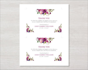 Memorial thank you card with purple roses
