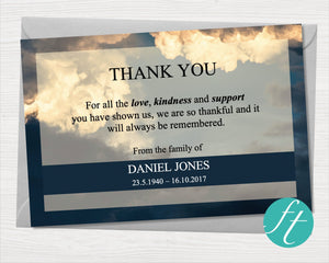 Funeral thank you card with sky design