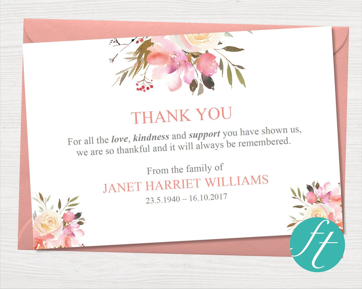 funeral thank you card  spring flowers  funeral templates