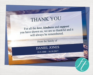 Waves Funeral Thank You Card