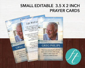 Editable funeral prayer cards with photo