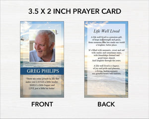 Printable prayer cards with beach design