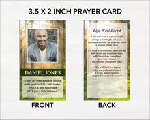 printable funeral prayer card with editable text and photos
