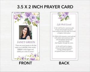 Lilac floral funeral prayer cards