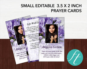Printable funeral prayer card template with editable text and photos