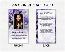 Purple Bouquet Funeral Prayer Card