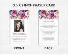 Funeral prayer card template with beautiful purple flowers