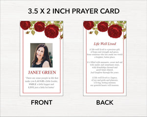 Editable funeral prayer card template with red rose design