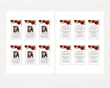 Red rose memorial prayer card
