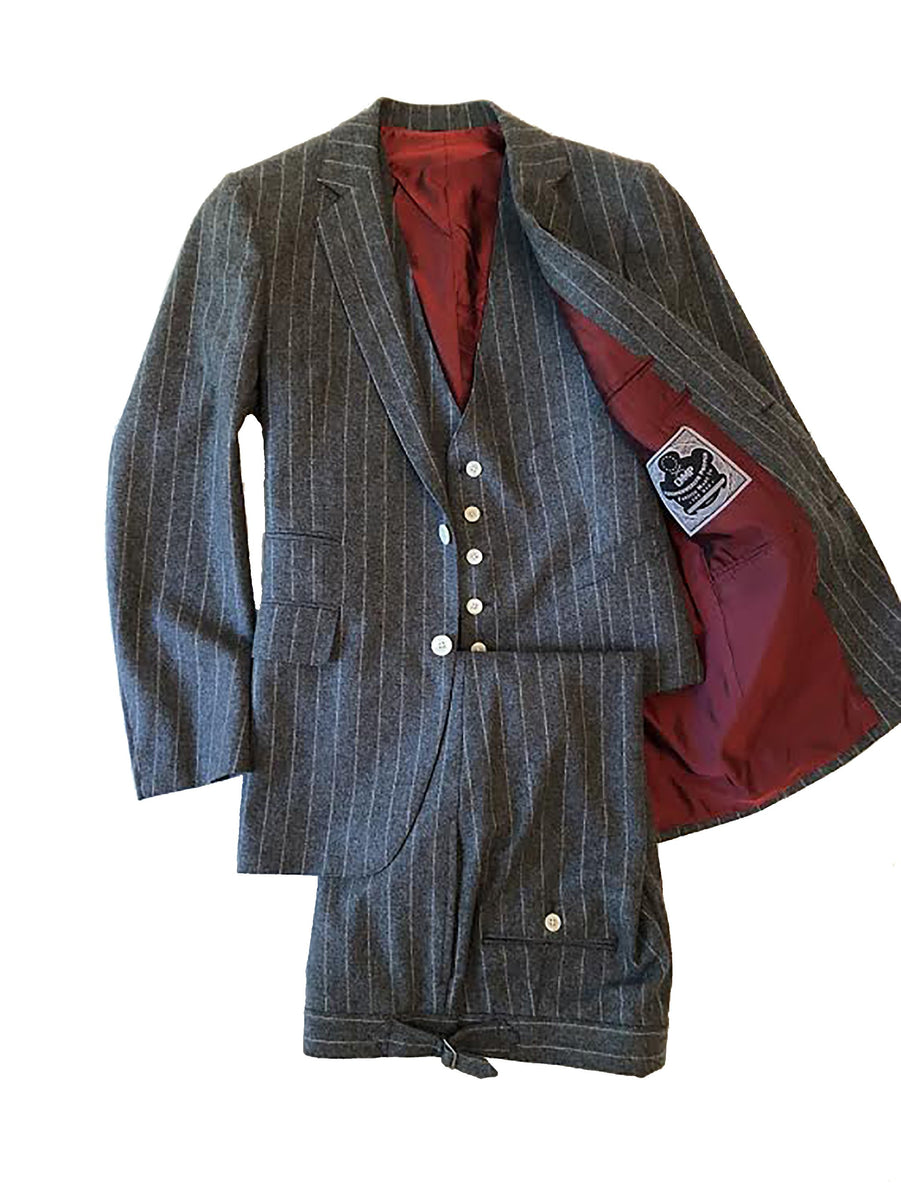 Charcoal Flannel Pinstripe 3pc. Suit