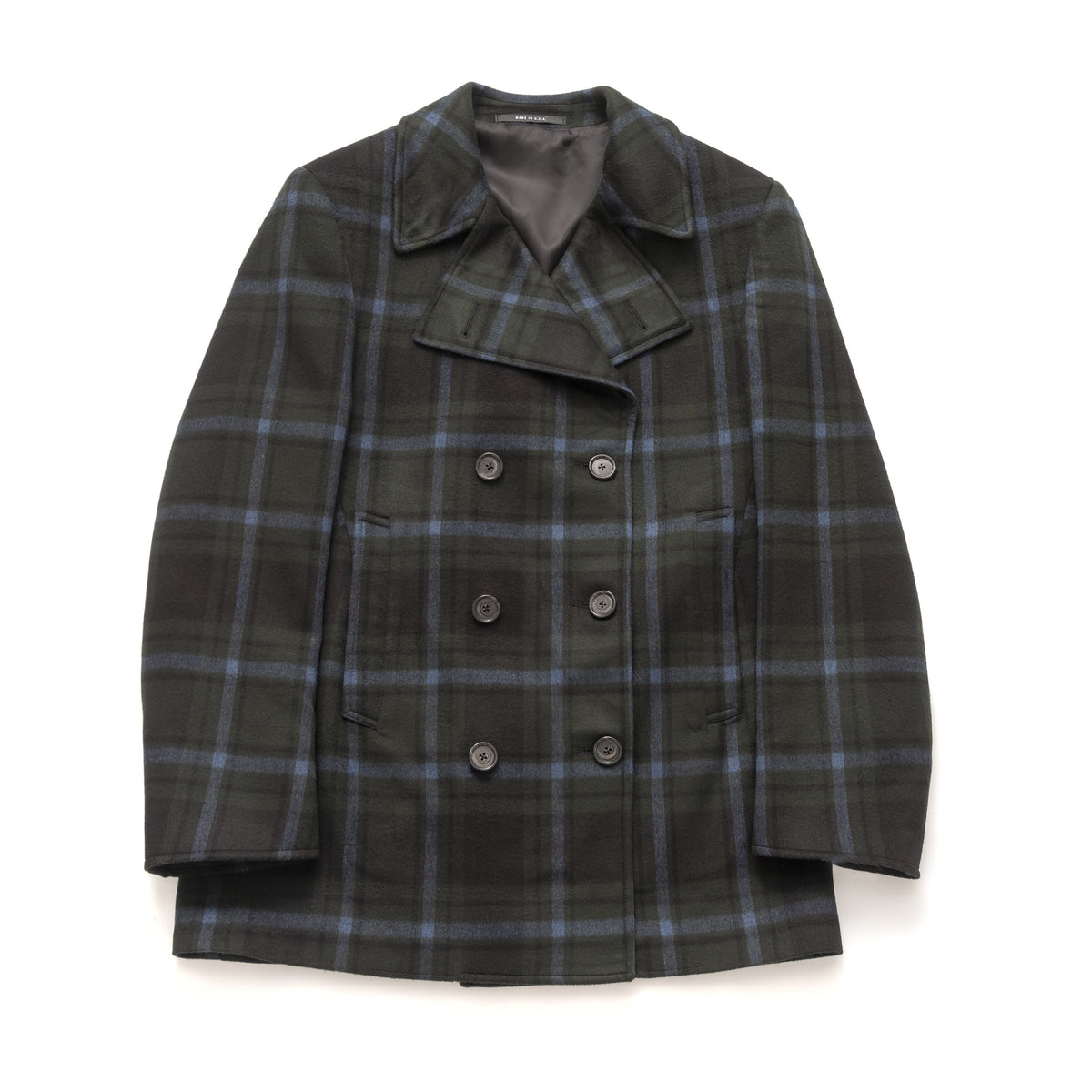 Pea Coat - Green Super Plaid