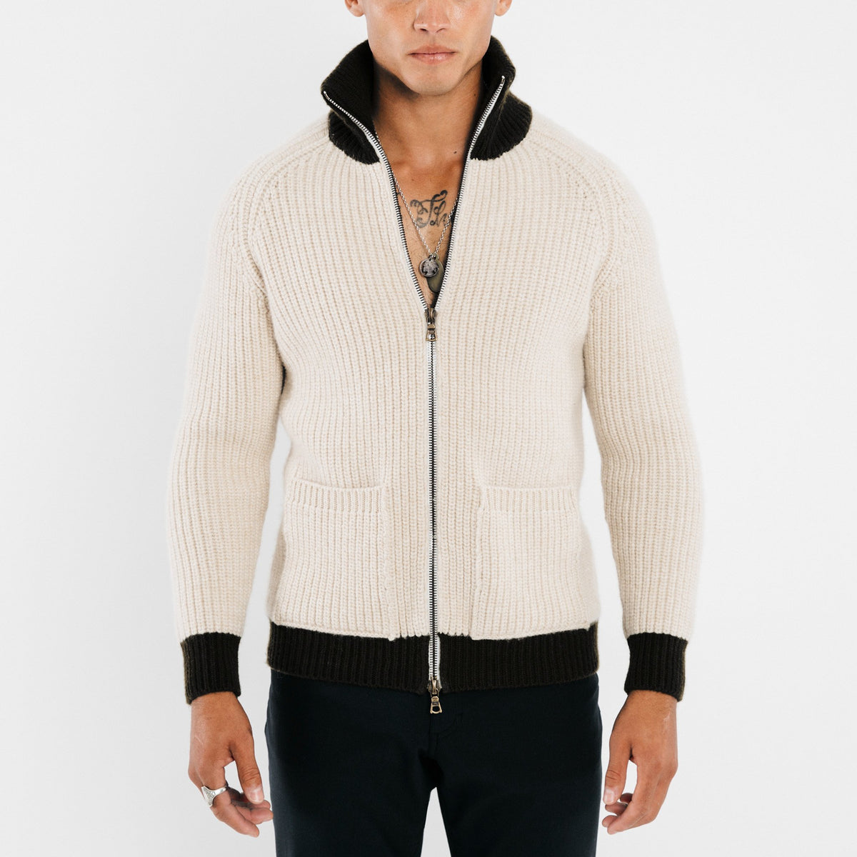 Full-Zip 6-Ply Sweater - Oatmeal / Black