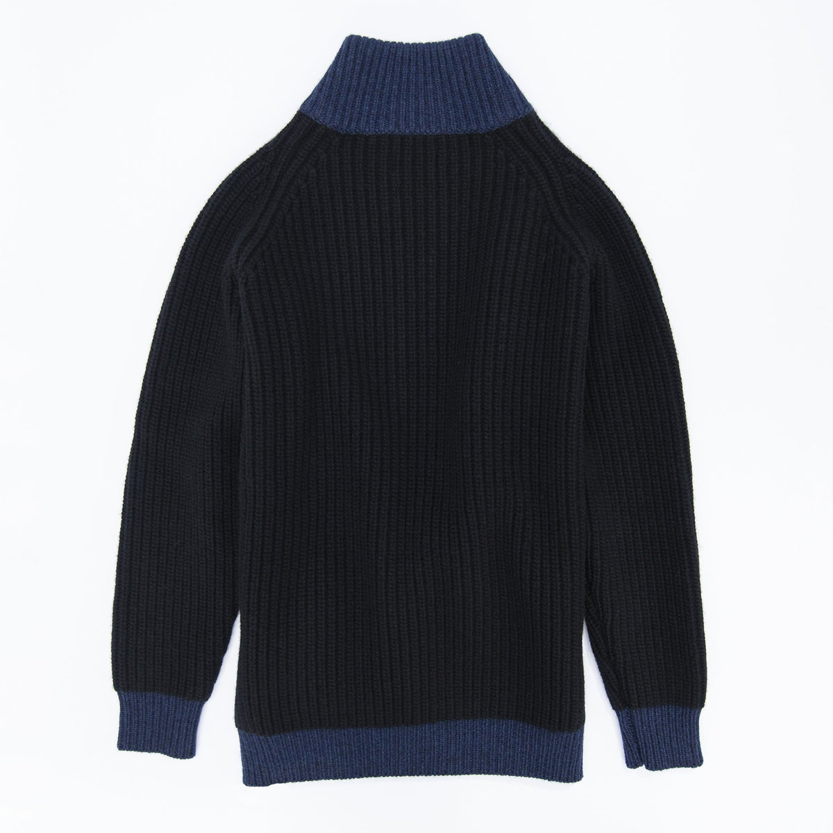 Full-Zip 6-Ply Sweater - Black / Navy