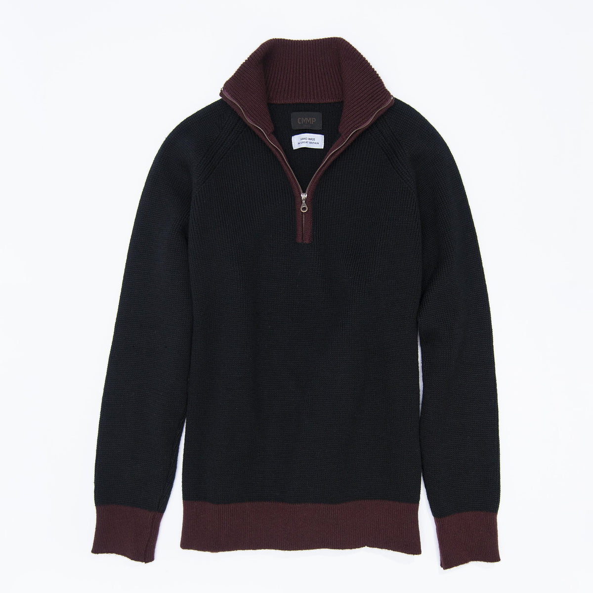 1/4-Zip 3-Ply Sweater - Black / Dark Red