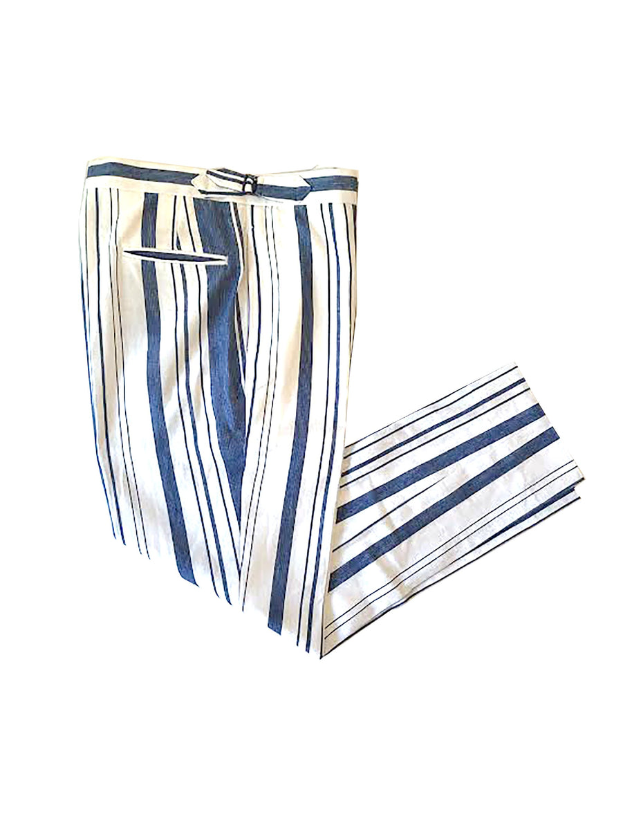 Blue / White Stripe Cotton Pants