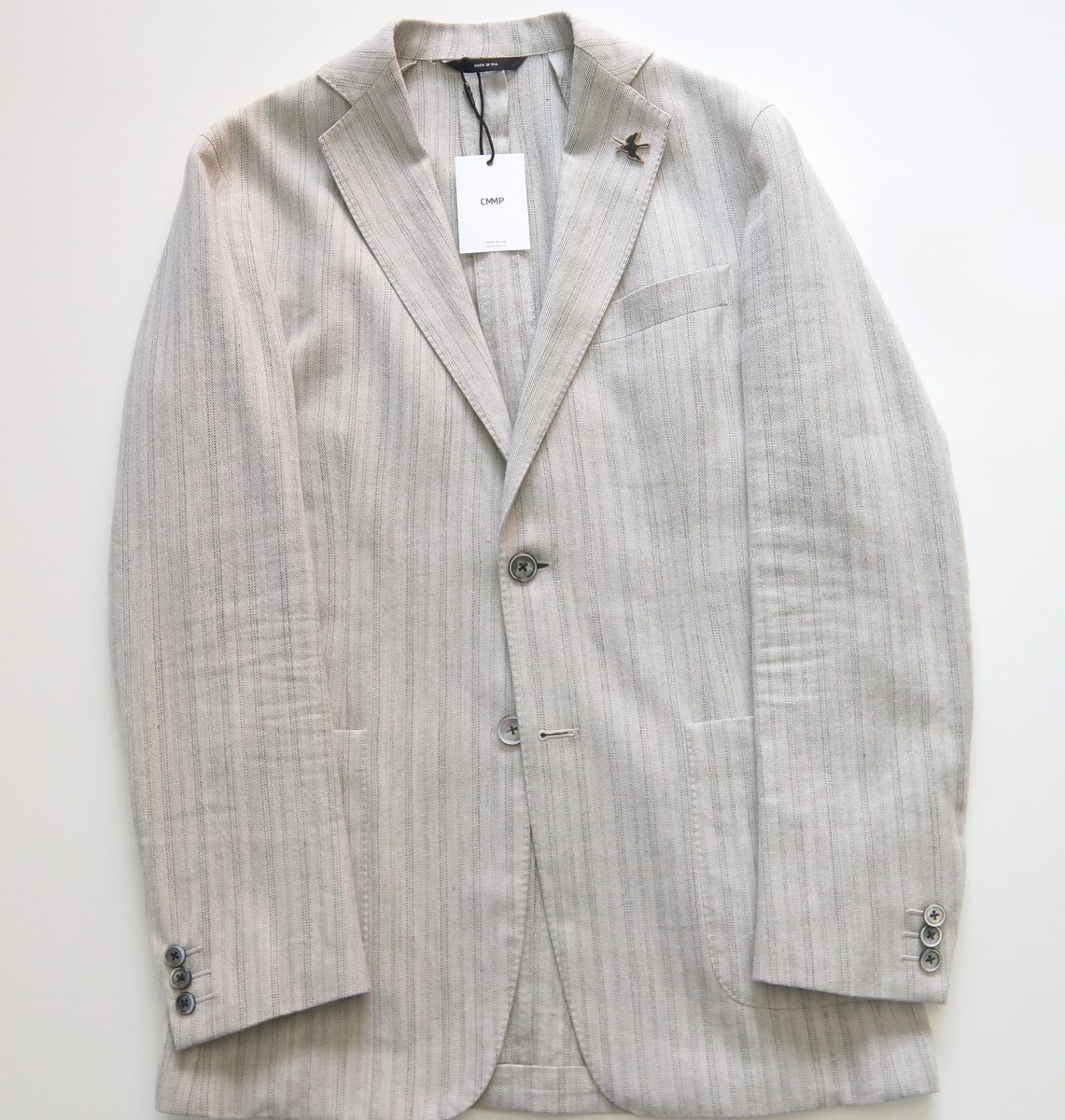 Tan / Grey Cotton Blend Blazer