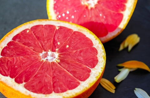 close up of ruby red grapefruit sliced