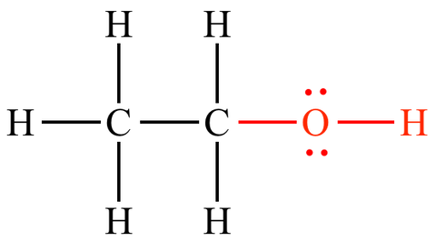 Chemical structure of ethyl alcohol