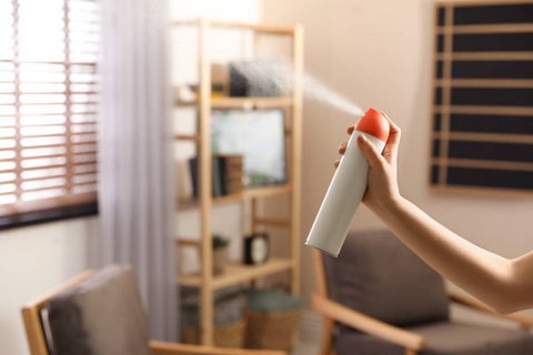 woman spraying air freshener in her home