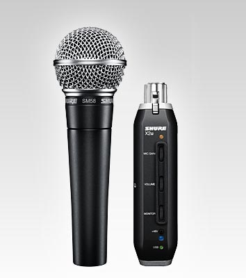 Shure SM58 X2u Unidirectional (Cardioid) Dynamic Vocal Microphone with XLR to USB Signal Adapter