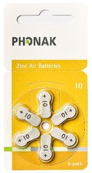 Phonak Earwig Invisity Batteries A10 Zinc-air 1.4V 6-PACK