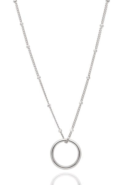 Astrid & Miyu - Basic Halo Pendant Necklace - White Gold