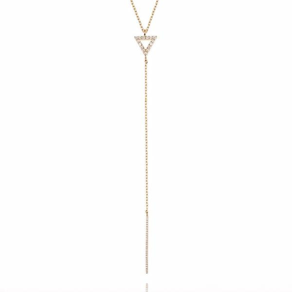Astrid & Miyu - Lariat Triangle Necklace - Gold