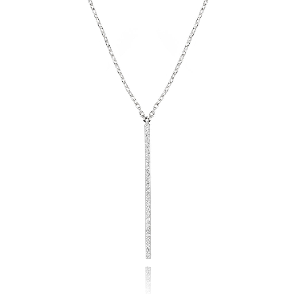 Astrid & Miyu - Hold On Long Bar Necklace - Silver