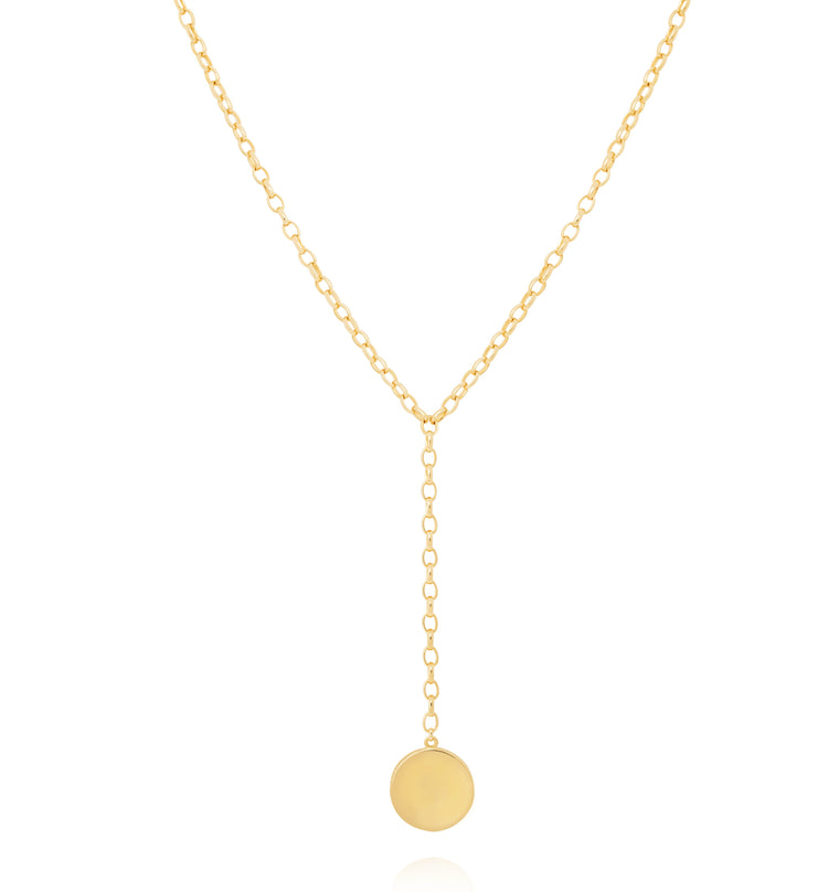 Astrid & Miyu - Basic 2.0 Circle Lariat Necklace - Gold
