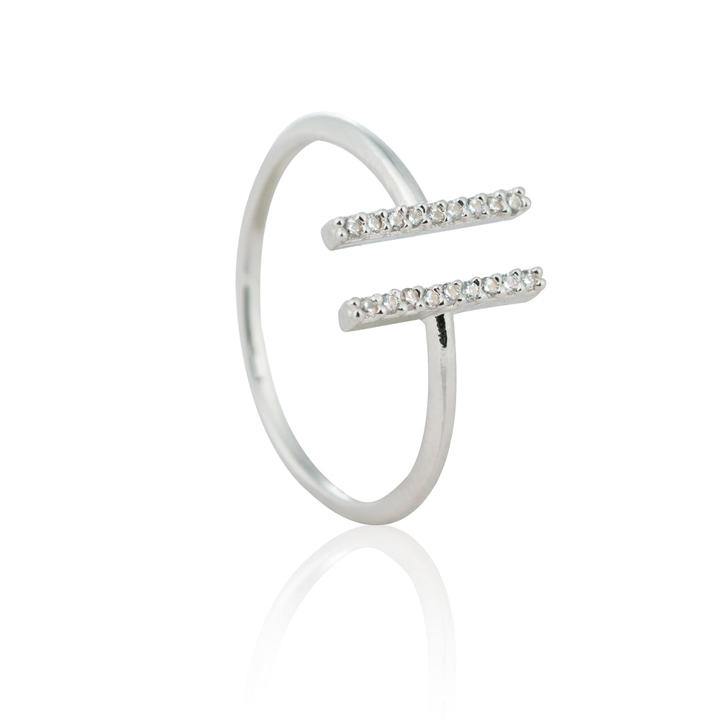 Astrid & Miyu- Chase Me Double Bar Ring - Silver