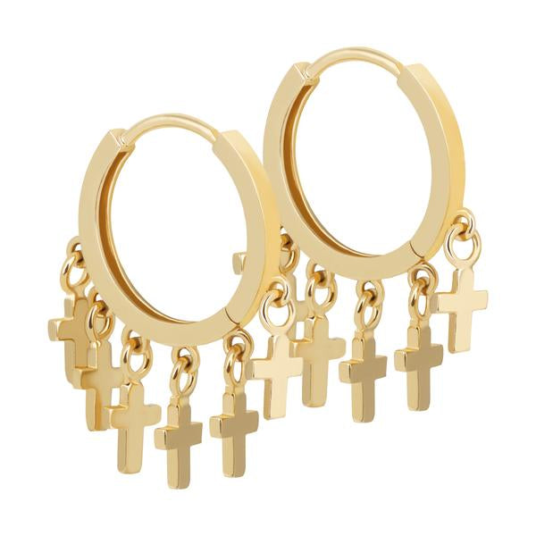 Astrid & Miyu - Mystic Cross Charm Hoops Earring - Gold