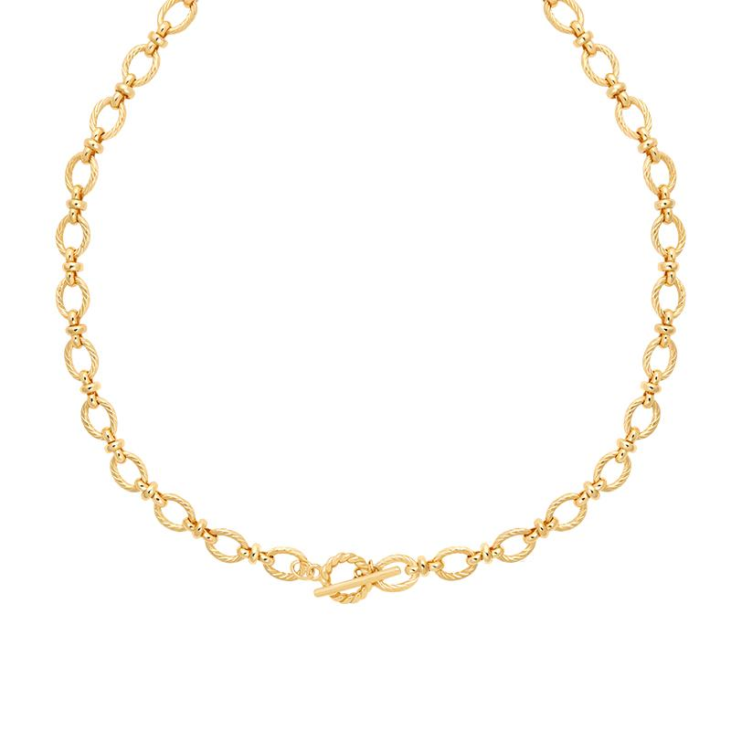 Astrid & Miyu -Textured Oval Link T-Bar Necklace- Gold