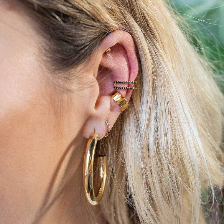 Astrid & Miyu - Wishbone Ear Cuff - Gold with black stones