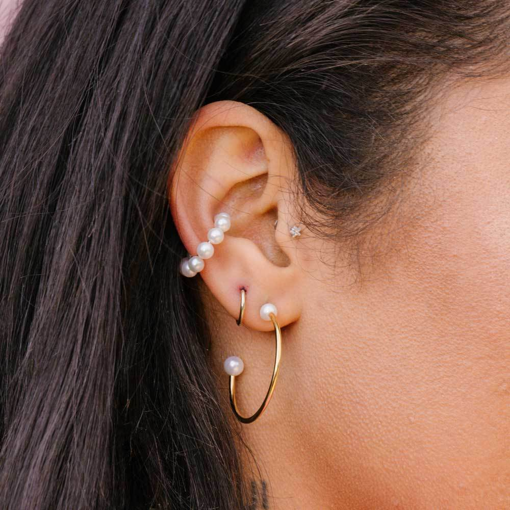 Astrid & Miyu - Pearl Large Hoop Earrings