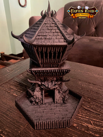 Matte Graphite Filament Barbarian Dice Tower 3D Printed Fates End