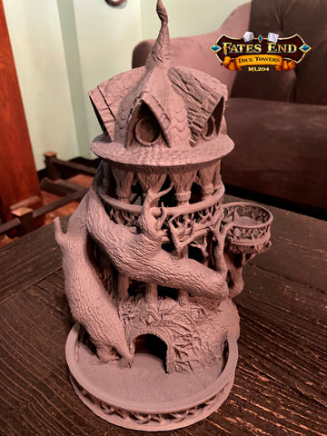 Grey Primed Druid Tower Dice Tower 3D Printed Fates End