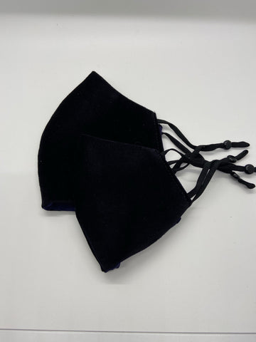 Reusable Face Mask with Adjustable Ear Loops - Black Velveteen