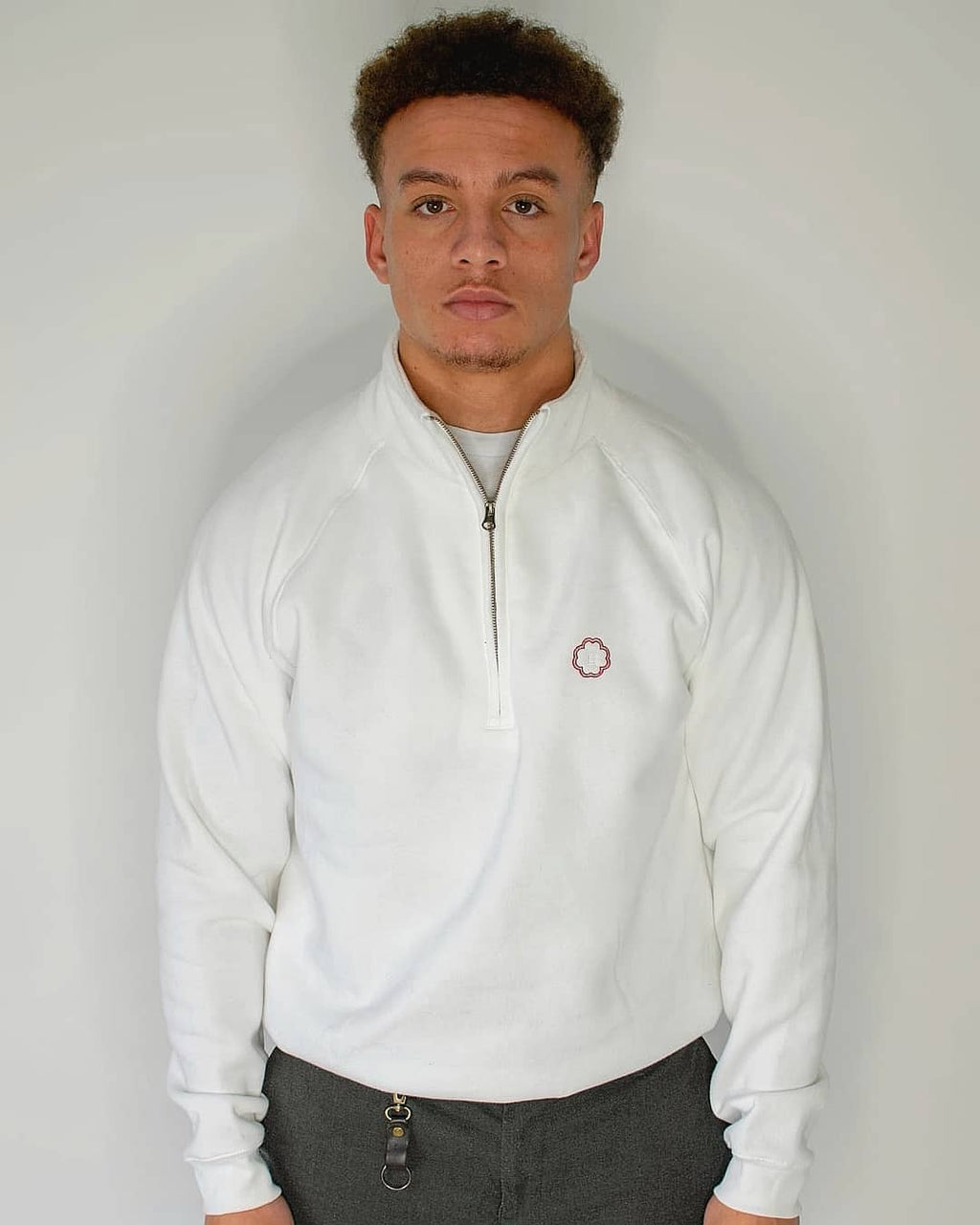 Estrada Premium 1/4 Zip Sweatshirt In White
