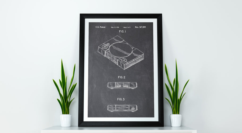 Playstation one retro gaming console patent print, playstation one poster in the style chalkboard