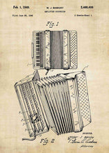 accordion patent print, accordion poster shown in the style vintage