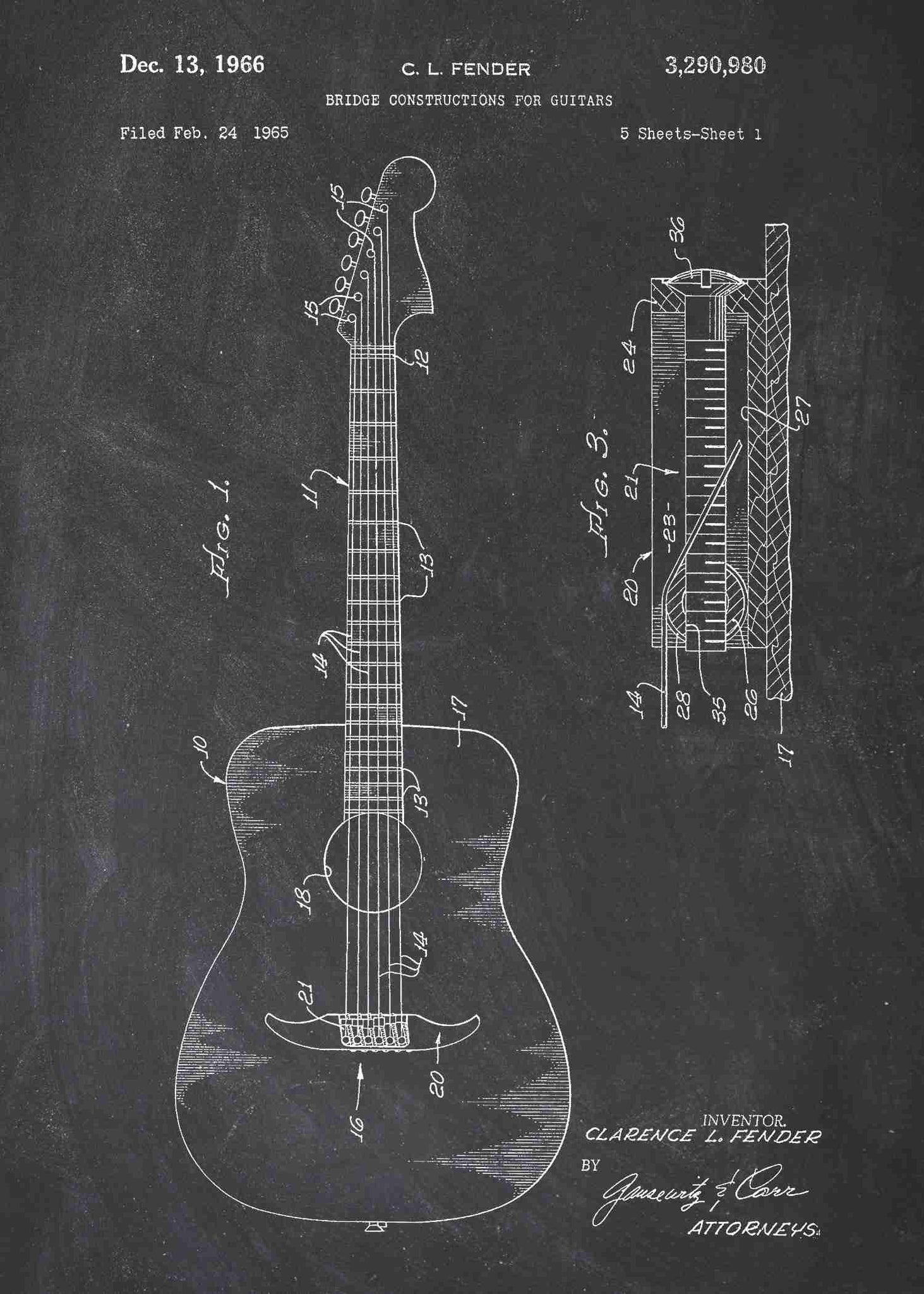 Acoustic guitar patent print patent wall art acoustic guitar patent print acoustic guitar poster shown in the style chalkboard malvernweather Gallery