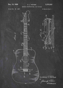 acoustic guitar patent print, acoustic guitar poster shown in the style chalkboard