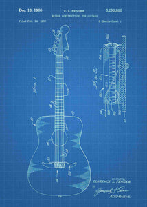 acoustic guitar patent print, acoustic guitar poster shown in the style blueprint