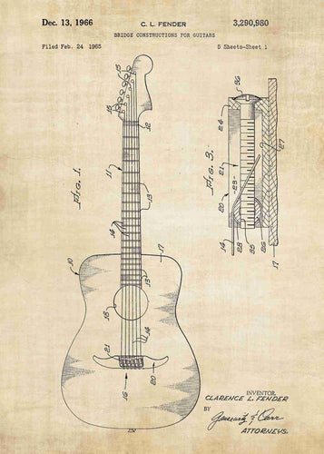 acoustic guitar patent print, acoustic guitar poster shown in the style vintage