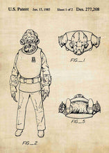Original Admiral Ackbar patent from the first trilogy of the star wars series. This star wars poster is in the style vintage