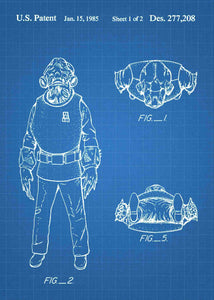 Original Admiral Ackbar patent from the first trilogy of the star wars series. This star wars poster is in the style blueprint